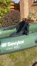 This is my Green Sevylor Rio one man inflatable canoe for sale.
