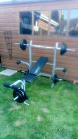 Weight bench and weights 85kg