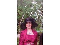 Stunning mother of the bride dress (maroon satin, not bright purple as in pics) & 3/4 sleeve bolero