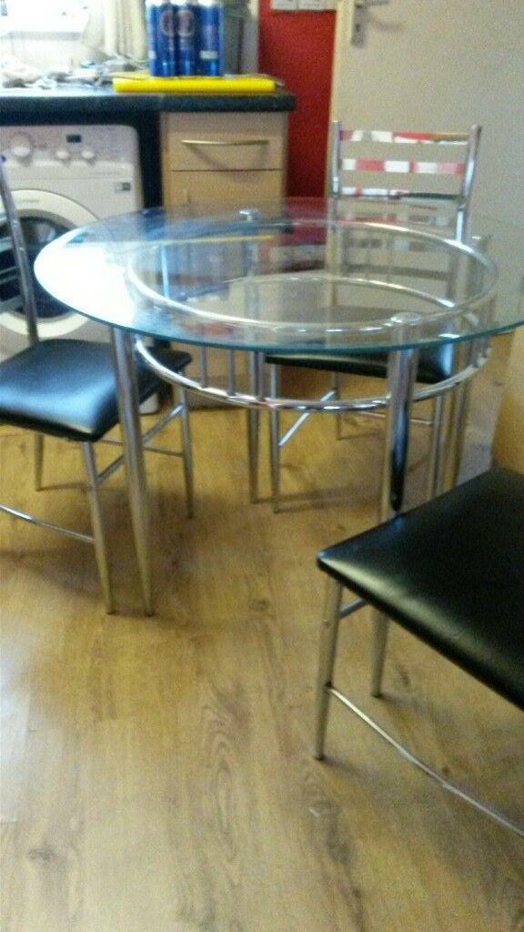 Chrome Dining Room Table And 3 Chairs