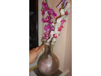 Large heavy Transparent Frosted Glass Chinese Vase with Horse and Happiness Luck Symbols