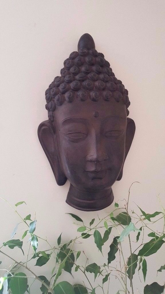 Large Resin Buddha Head Carved Wood Effect Wall