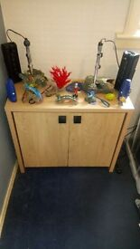 LOVELY SOLID 2. 1/2.FOOTLONG. FISH CABINET AND FISH ACCESSORIES, ie HEATERS. FILTERS AND MORE.