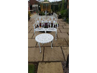 Non rusting metal garde small table & bench seat plus glass top garden table non rusting frame