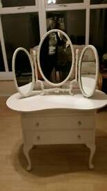 Shabby chic dressing table with french louis style three way mirror & chair £120