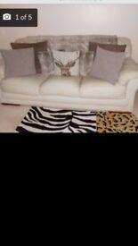 3 seater premium leather sofa in cream