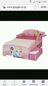 Lovely World's Apart wooden toddler Disney Princess Storytime bed with storage & bundle