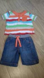 0-3m boys shorts outfit.