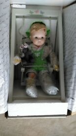 Danbury Mint Playtime Porcelain Doll - Boy in a Wooden Swing