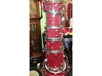 drum kit *****hayman ,mapex- 5 good paiste cymbals-4 tom-2 flor tom 2 snare,, all stand
