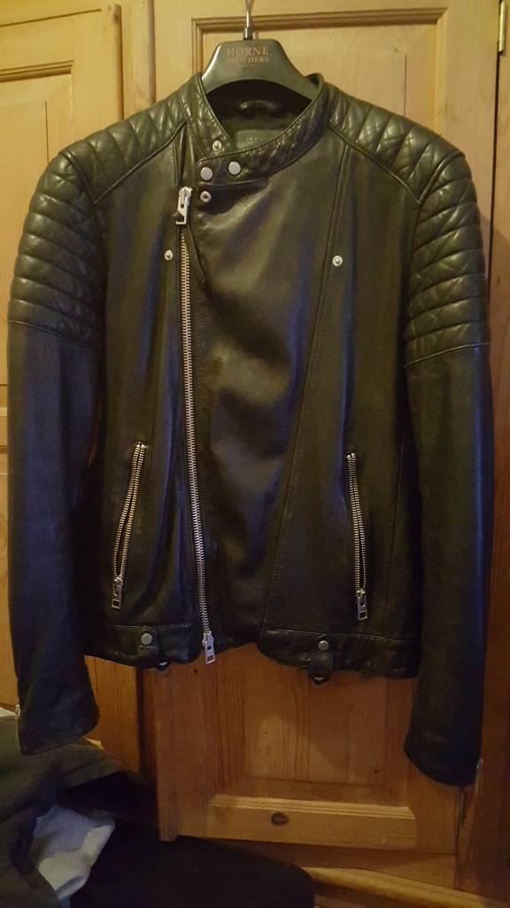 e9268e542 All Saints Jasper leather jacket size L black   in Cambridge,  Cambridgeshire   Gumtree