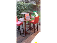 2 Pub Poseur tables along with 3 tall bar stools - £50