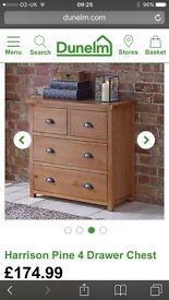 Dunelm walnut chest of drawers x2 and bedside cabinets x2 2 months old
