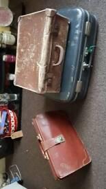 2 vintage suitcases & vintage leather briefcase