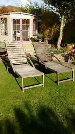 Hard wood sun loungers