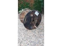 INDUSTRIAL VERY LARGE WOODEN CABLE DRUM