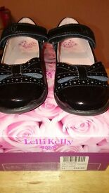 Lelli kelly girls black school shoes size 31f brand new