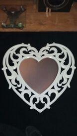 White heart shape filigree wall mounted mirror shabby ornate chic girly bedroom