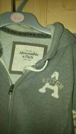 Abercrombie & Fitch Grey Hoodie size 8-10..excellent...100% Genuine...warm fleecy