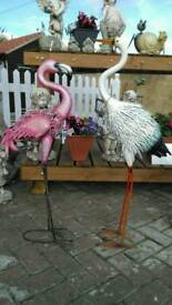 Metal home and garden cockerels birds flamingo unusual shabby retro vintage style xmas gifts Essex