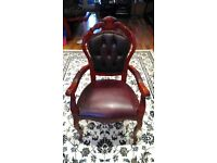 DINING TABLE CHAIR ITALIAN STYLE BURGUNDY FAUX LEATHER CARVER