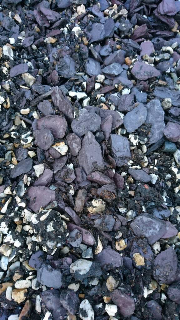 Dark grey Slate garden chippings.