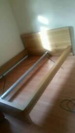 Ikea Oak effect double bed frame