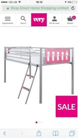 Pink and silver bed with under storage