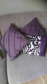 Purple cushions.