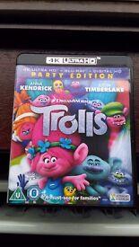 Trolls Bluray + 4K Ultra HD disc. Brand New!