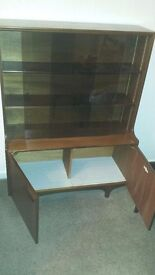 SUTCLIFFE DISPLAY CABINET IN DARK WALNUT TOP 36 x 10 BOTTOM 36 x 14 INCH HEIGHT 48 INCH
