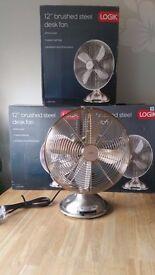 """LOGIK L12DFSS15 12"""" Desk Fan - brashed steel"""