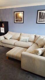 DFS Sophia Grey Fabric Corner settee with footstool (ex con)