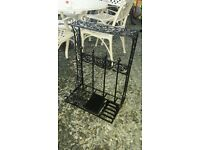Cast iron welly boot holders Dog bowl holders patio heater