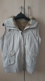 Ladies Faux Fur Lined Hooded Gilet / Bodywarmer, Colour Stone, Size 10, Lovely Condition
