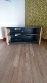 Alphason Light Oak Veneer and black glass TV Unit