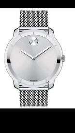 Movado bold silver men's watch with mesh stainless steel bracelet 44mm