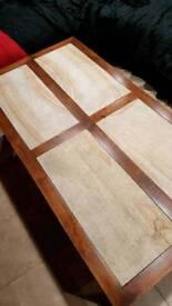 travatine and wood coffee table