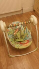 BRIGHT STARS UP, UP & AWAY PORTABLE BABY SWING--SUITABLE FROM BIRTH---6 SWING SPEEDS