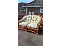Cane conservatory sofa and 2 single chairs