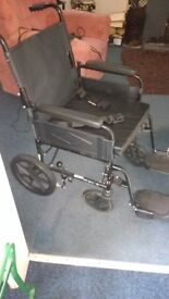 Wheelchair easy to push and solid construction clean useful as an aid to getting out.