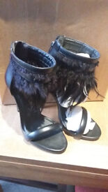 River Island Ladies High heeled feather shoes - Size 5/38 - Brand new in box