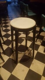 5 x indvidual custom bar stools, black with white upholstery, £50 each
