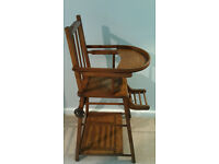 c.1800s French antique high chair which converts into a play station