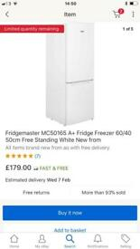 New condition Only 30 days used Brand Fridgemaster fridge freezes only £80 piece