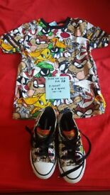 Looney Tunes Converse size 10.5 and t-shirt George 5-6 years