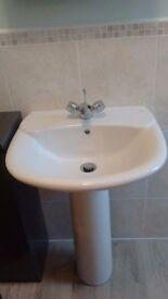 Roca White Bathroom Sink and Pedestal