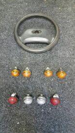 Set of defender lights and steering wheel
