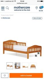 Mothercare Darlington toddler bed with unslept on foam mattress
