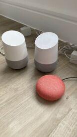 Set of Google Home Speakers x2 plus Google Nest Mini